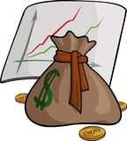 Pouch with money and graph. Illustration with brown pouch, coins and graph showing positive dynamics Royalty Free Stock Photos
