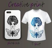 Pouch and T-shirt with print - close-up royalty free illustration