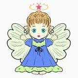 Pouco anjo bonito com um halo ilustração stock