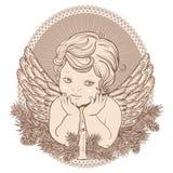 Pouco anjo com asas com uma vela ilustração stock