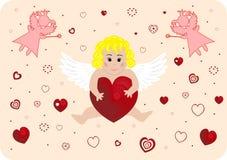 Pouco anjo com coração grande Fotos de Stock Royalty Free