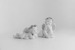Pouco anjo do sono no fundo branco, preto e branco Foto de Stock Royalty Free