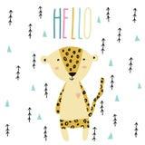 Pouco arte do leopardo do bebê no estilo escandinavo ilustração royalty free