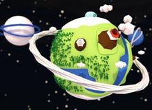 Pouco baixo fundo poli do planeta engraçado Fotos de Stock Royalty Free