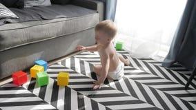 Pouco beb? que joga com blocos pequenos coloridos de um construtor na sala no assoalho Crian?a que joga com colorido video estoque