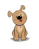 Pouco cachorrinho marrom dos desenhos animados com um ponto no olho senta-se Imagens de Stock Royalty Free