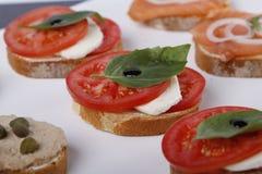 Pouco canapes com atum e alcaparra, tomate e mozarella, salmões e cebolas imagens de stock royalty free