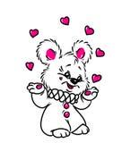 Pouco cartão do Valentim do coração do juggler do urso Fotos de Stock