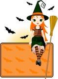 Pouco cartão do lugar da bruxa de Halloween Fotos de Stock
