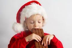 Pouco chocolate Santa Fotografia de Stock