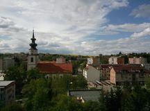 Pouco cidade em Eslováquia ocidental fotografia de stock royalty free