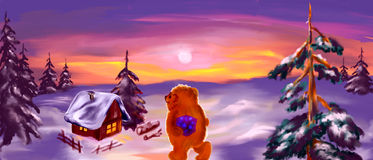 Pouco feriado do urso ilustração do vetor