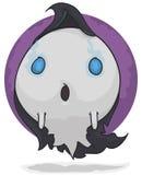Pouco Ghost que procura uma casa assombrar vestes escuras vestindo, ilustração do vetor ilustração do vetor