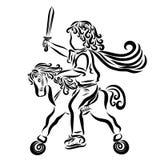 Pouco guerreiro encaracolado com uma espada em um cavalo do brinquedo ilustração stock