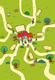 Pouco mapa dos desenhos animados da cidade Imagem de Stock