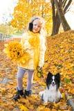 Pouco menina bonita com cabelo louro e o cão pequeno no fundo do outono imagem de stock