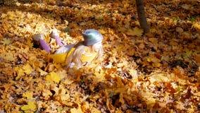 Pouco menina bonito que salta nas folhas no parque no outono e nas árvores video estoque