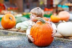 Pouco menino bonito da criança que senta-se com a abóbora enorme no Dia das Bruxas ou no th Fotografia de Stock