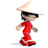 Pouco menino da porcelana dos desenhos animados é tão bonito e engraçado Imagens de Stock Royalty Free