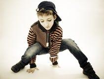 Pouco menino fresco de hip-hop na dança. Fotos de Stock Royalty Free