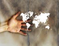 pouco mundo na mão Imagens de Stock