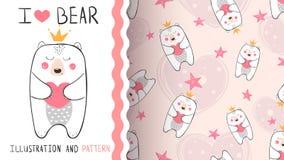Pouco princesa do urso - teste padrão sem emenda ilustração do vetor