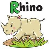 Pouco rinoceronte para ABC Alfabeto R Foto de Stock Royalty Free