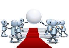 Pouco robô que recolhe na esfera ilustração royalty free