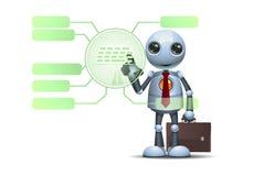 Pouco robô usando o painel digital da nova tecnologia ilustração royalty free