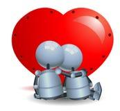 Pouco romance dos pares do robô no fundo branco isolado ilustração royalty free