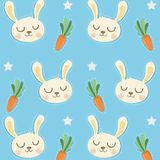 Pouco teste padrão do coelho com cenouras bonitos ilustração royalty free