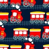 Pouco trem do vapor em um teste padrão sem emenda Imagens de Stock Royalty Free