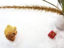 Pouco urso com gife Dia feliz dos amantes Conceito do dia do ` s do Valentim imagem de stock royalty free