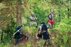 Poucos cavaleiros estão lutando foto de stock royalty free