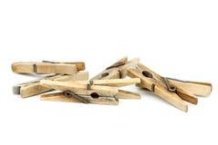 Poucos clothespins de madeira Fotos de Stock Royalty Free