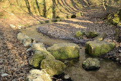 Poucos riacho e pedras fotos de stock