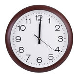 Południe na tarczy round zegar Obrazy Royalty Free