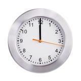 Południe na tarczy round zegar Zdjęcia Stock