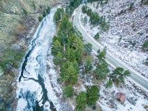 Poudre河峡谷鸟瞰图 免版税库存图片
