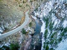 Poudre河峡谷鸟瞰图 免版税库存照片