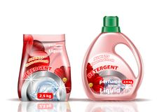 Poudre à laver Le liquide et la poudre de couleur rose est assaisonné avec des additifs illustration libre de droits
