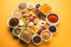 Poudre crue indienne d'épice dans des cuvettes blanches au-dessus de fond rouge ou jaune ou vert, foyer sélectif Photo stock