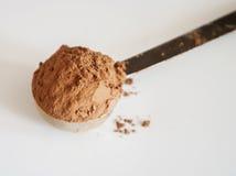 Poudre de cacao d'isolement sur le fond blanc Photo libre de droits