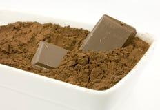 Poudre de cacao dans la cuvette Images stock