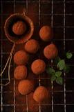 Poudre de cacao de truffes de chocolat époussetée Photographie stock libre de droits