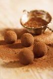 Poudre de cacao de truffes de chocolat époussetée et passoir Images libres de droits