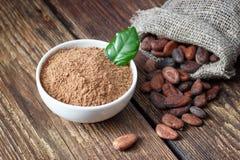 Poudre de cacao et graines de cacao photo stock