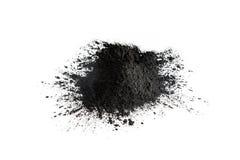 Poudre de charbon actif tirée avec la macro lentille Photos libres de droits