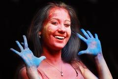 Poudre de couleur de Holi Photographie stock libre de droits