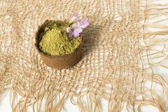 Poudre de henn? pour le mehendi de teinture de cheveux et de sourcils et de dessin sur des mains, avec la palmette verte photos stock